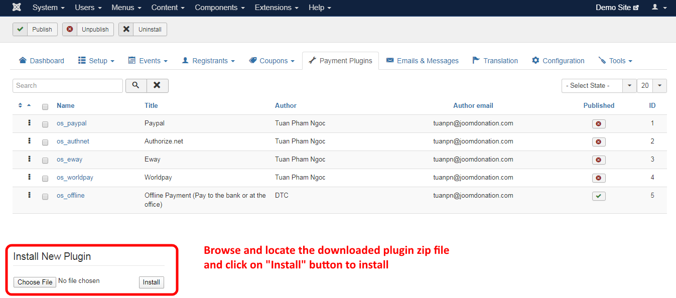 Insatlling Event Booking Payment Plugin