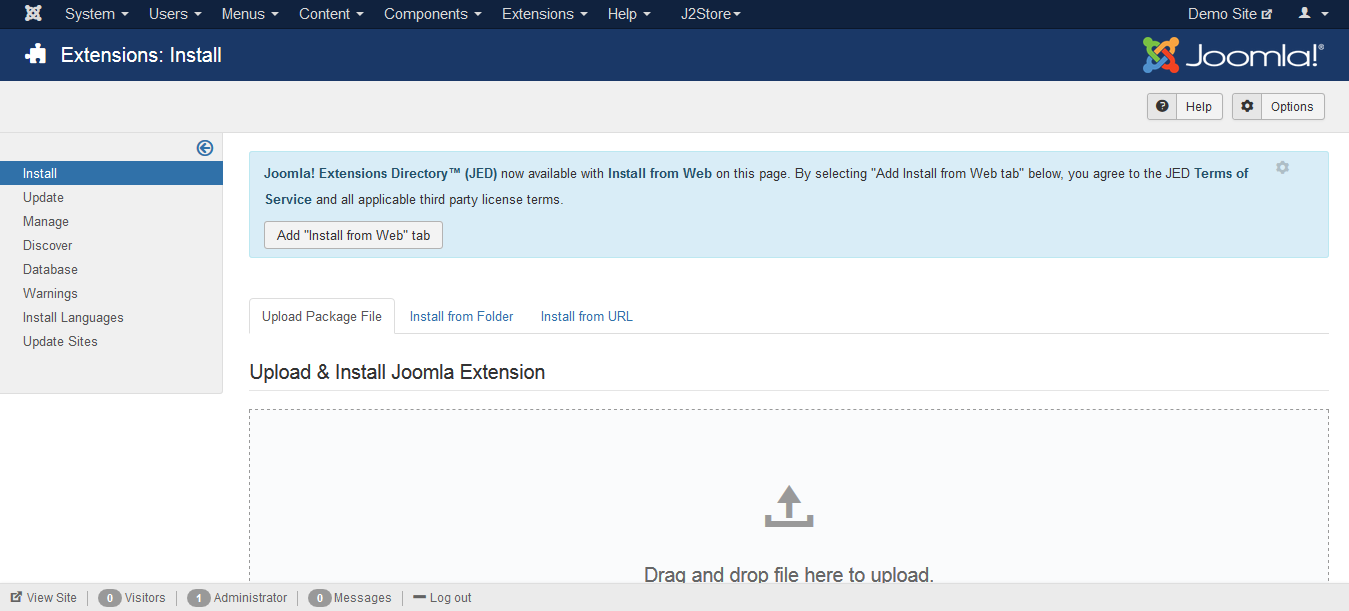 Navigate To Joomla Installer Page