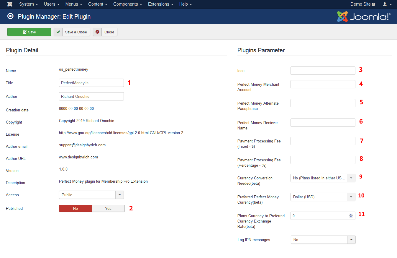 Configuration Settings - Membership Pro Perefect Money Payment Plugin