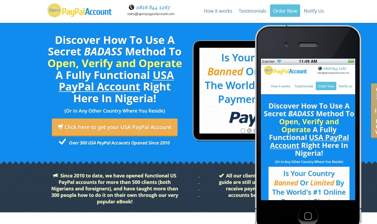 Open PayPal Account - website design in Nigeria