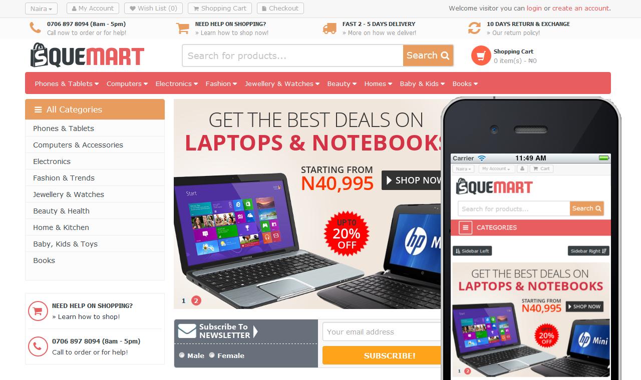 Squemart - online store web designer in Nigeria portfolio