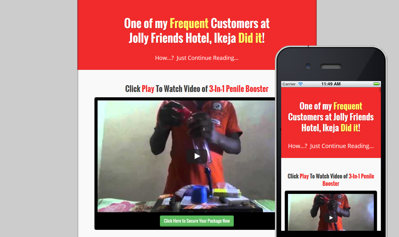 Penile Booster - sales page website design in Nigeria