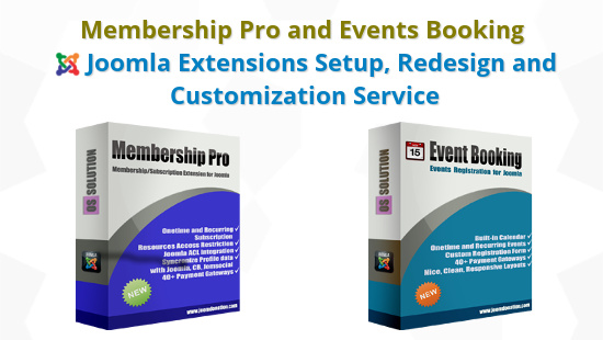 Membership Pro or Events Booking Joomla Extension Setup, Redesign and Customization Service